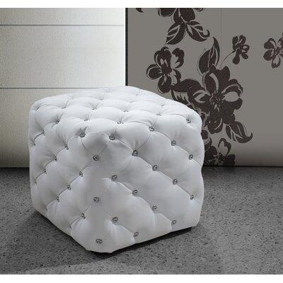 Burton Latimer Leather Ottoman Upholstery: White
