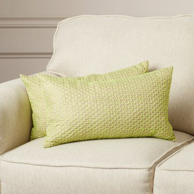 Berniece Box Stitch Lumbar Pillow Color: Neon Green