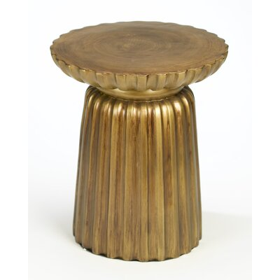 Bineau Pedestal End Table Color: Brushed Antique Gold
