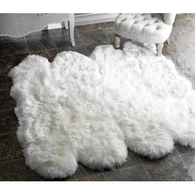 Exmouth White Area Rug Rug Size: 53 x 53