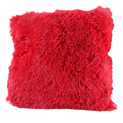 Broughton Very Soft and Comfy Plush Faux Fur Throw Pillow Color: Red