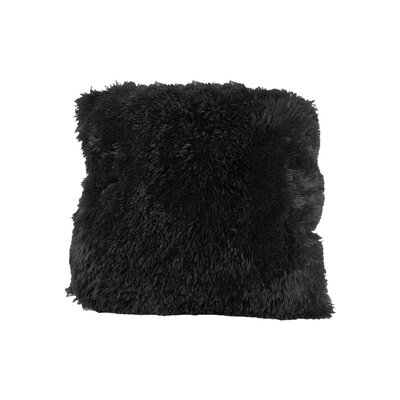 Broughton Very Soft and Comfy Plush Faux fur Throw Pillow Color: Black