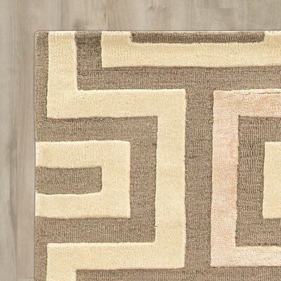 Leone Hand-Tufted Beige/Gray Area Rug Rug Size: Rectangle 5 x 8