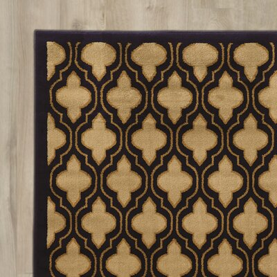 Lotz Yellow/Black Area Rug Rug Size: Rectangle 5 x 73