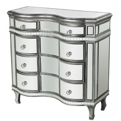 Aphan Curved Mirror 8 Drawer Chest