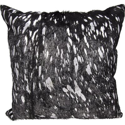 Surrey Square Natural Leather Throw Pillow Color: Black Silver