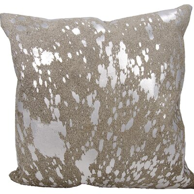 Surrey Square Natural Leather Throw Pillow Color: Gray Silver