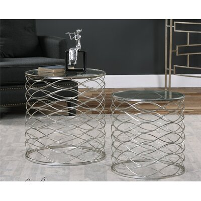 Irving 2 Piece Iron Cage End Table Set