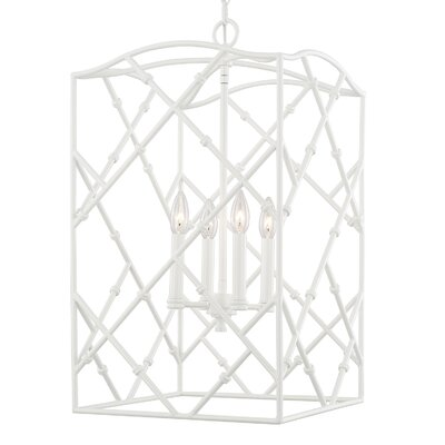 Hester 4-Light Foyer Pendant Finish: Glossy White, Size: 26.5 W x 15 W x 15 D
