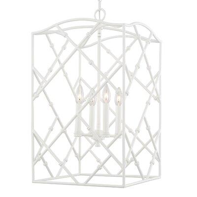 Hester 4-Light Foyer Pendant Finish: Glossy White, Size: 26.5 W x 15 W x 15 D