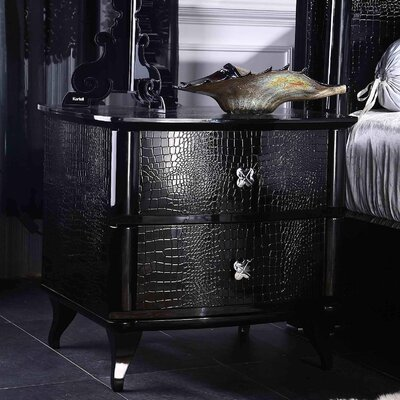 Janine 2 Drawer Metal Nightstand