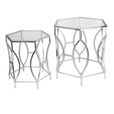 Ariane 2 Piece Iron & Glass End Table Set