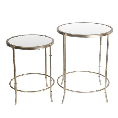 Porsha 2 Piece Round Iron End Table Set