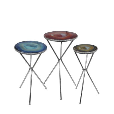 Dia 3 Piece End Table Set Finish: Silver Leaf