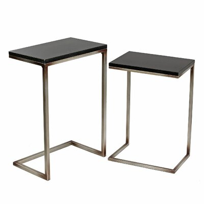Shofner 2 Piece Iron/Stone End Table Set