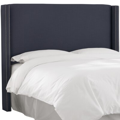 Remicourt Wingback Headboard Size: Full, Upholstery: Navy