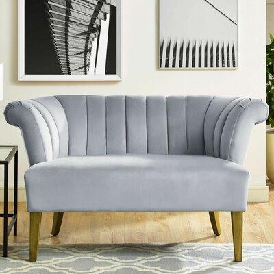 Edite Iris Velvet Settee Upholstery: Gray