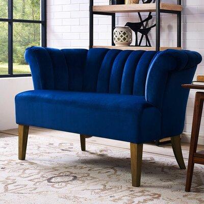 Edite Iris Velvet Settee Upholstery: Navy