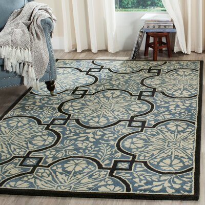 French Painted Avignon Hand-Loomed Kerry Blue Area Rug Rug Size: Round 4 x 4