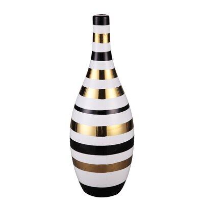 Cory White/Black Glass Stoneware Floor Vase