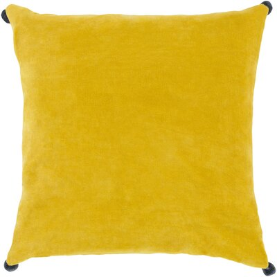 Yvonne Poms Velvet Throw Pillow Cover Size: 22 H x 22 W x 1 D, Color: YellowBlue