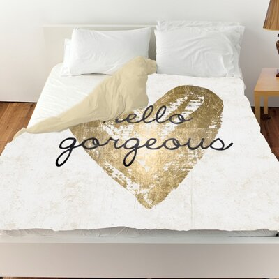 Pyrite Gorgeous Salute White Duvet Cover Size: Queen