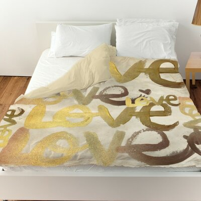 Pyrite Four Letter Word Duvet Cover Size: Queen