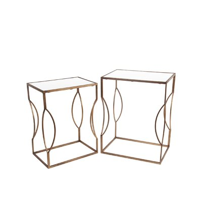 Shannon 2 Piece End Table Set Color: Gold