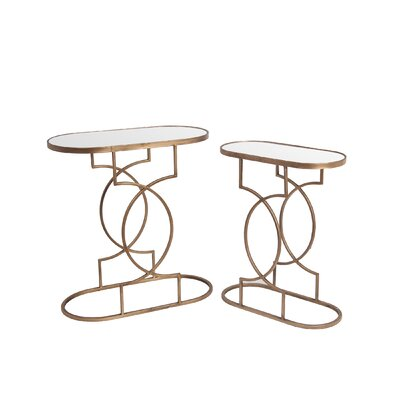 Fabia 2 Piece End Table Set Color: Gold
