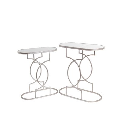 Fabia 2 Piece End Table Set Finish: Silver