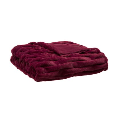 Nettinne Ruched Fur Throw Blanket Color: Red
