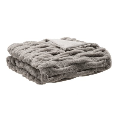 Nettinne Ruched Fur Throw Blanket Color: Gray