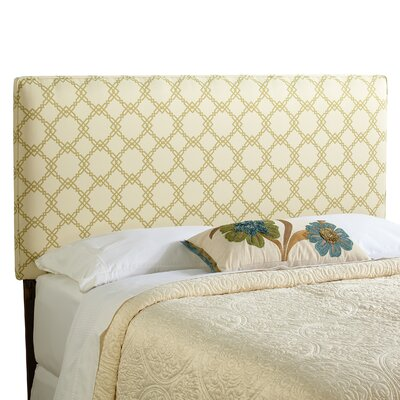 Rosalie Upholstered Panel Headboard Size: King, Upholstery: Ivory/Green