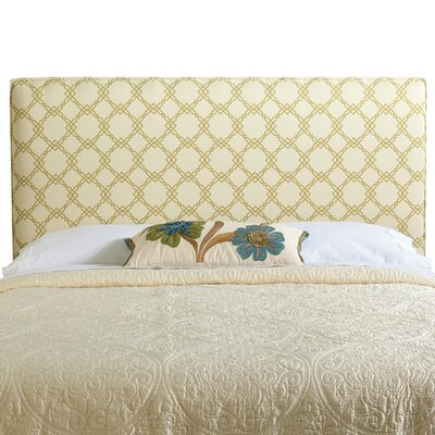 Rosalie Queen Upholstered Panel Headboard Upholstery: Ivory/Green