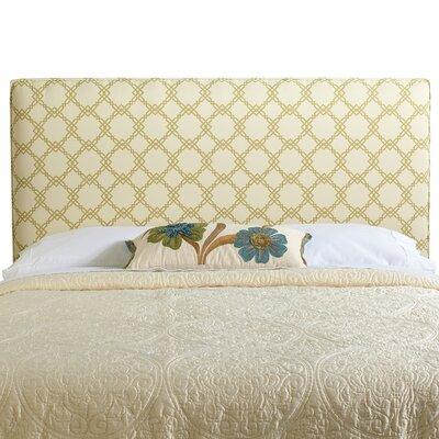 Rosalie Queen Upholstered Panel Headboard Upholstery: Ivory/Green