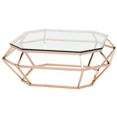 Romo Coffee Table Size: 15 H x 40 W x 40 D, Color: Clear Gold