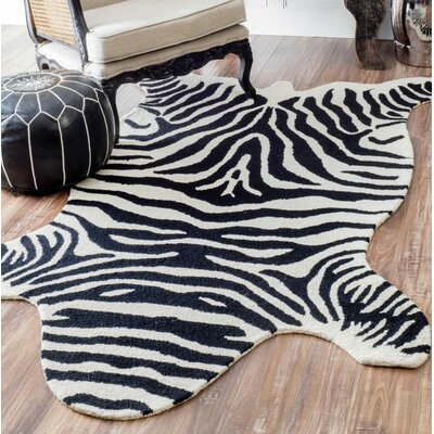 Shaftesbury Hand-Tufted Black/White Area Rug Rug Size: Rectangle 3 x 5