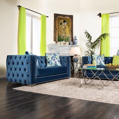 Ama Tuxedo Chesterfield Sofa Upholstery: Cobalt Blue