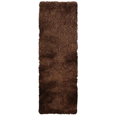 Coyan Solid Dark Brown Area Rug Rug Size: Runner 26 x 6