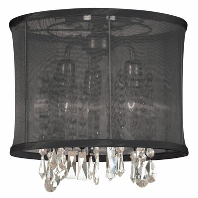 Lydney 3-Light Semi-Flush Mount Shade color: Black