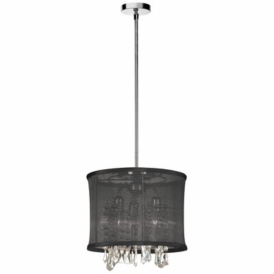 Lydney 3-Light Drum Pendant Shade Color: Black