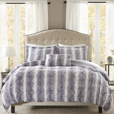 Atkins 4 Piece Duvet Set Size: King, Color: Gray