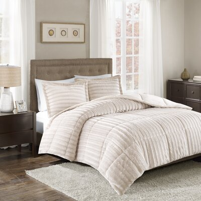 Borrero Faux Fur 3 Piece Comforter Mini Set Size: Full/Queen, Color: Champagne