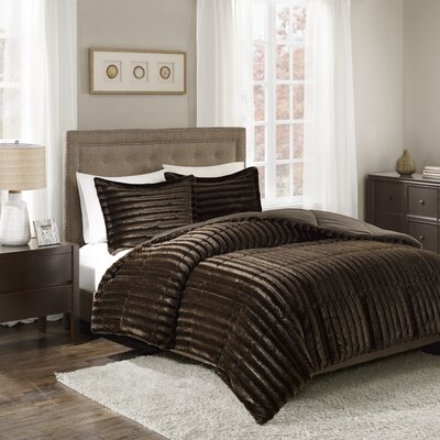Borrero Faux Fur 3 Piece Comforter Mini Set Size: King/Cal King, Color: Chocolate