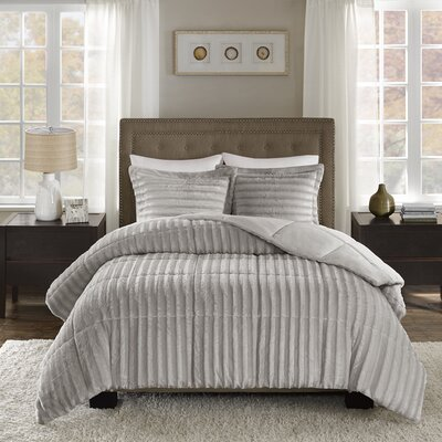 Bolland Faux Fur 3 Piece Comforter Mini Set Size: King/Cal King, Color: Gray