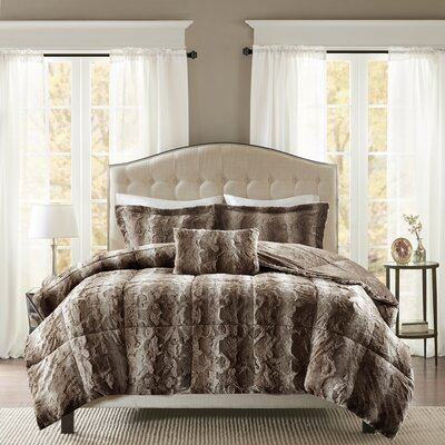 Atkins Faux Fur 4 Piece Comforter Set Size: King, Color: Chocolate