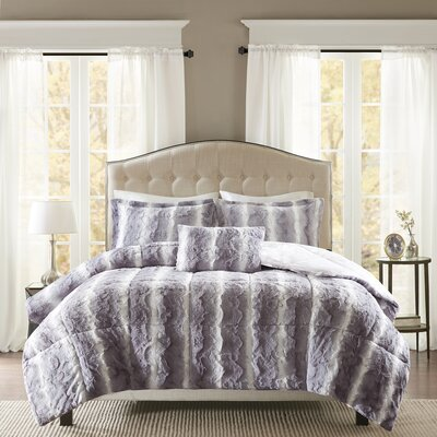 Atkins Faux Fur 4 Piece Comforter Set Size: Full/Queen, Color: Gray