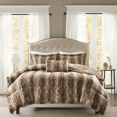 Atkins Faux Fur 4 Piece Comforter Set Size: Full/Queen, Color: Tan