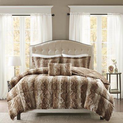 Atkins Faux Fur 4 Piece Comforter Set Size: King, Color: Tan