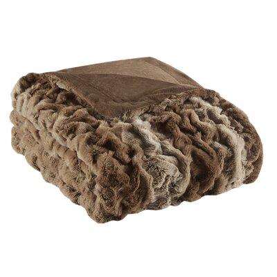 Elliott Fur Throw Color: Tan Stripe